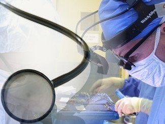 A medical procedure being performed