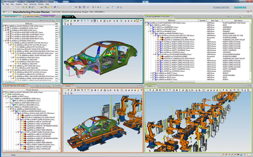 Tabular and 3D graphical Siemens Process Designer windows