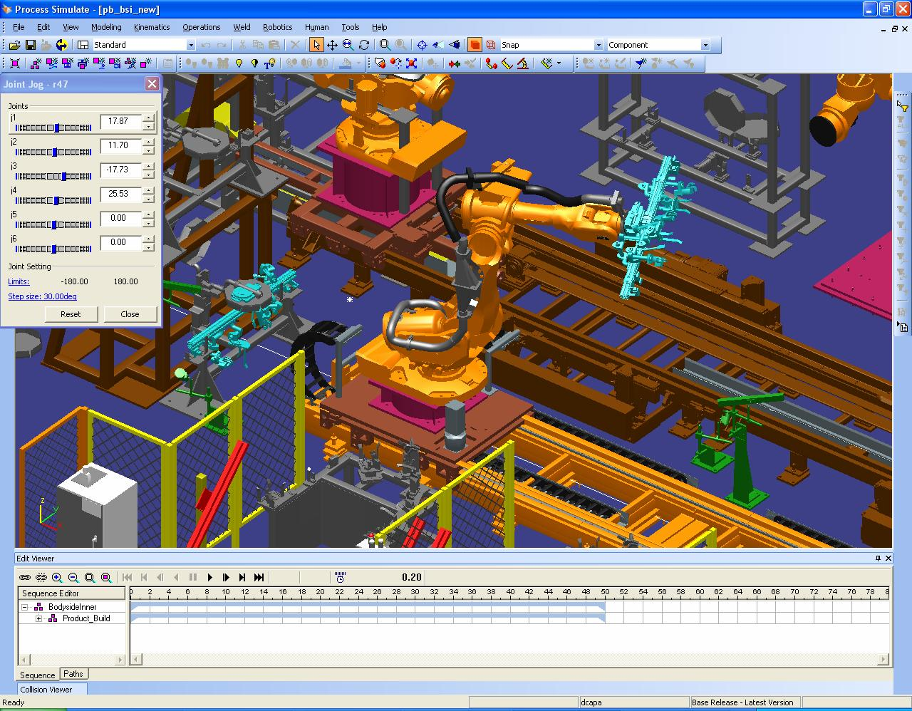 A 3D image of a manufacturing robot in Siemens Process Simulate